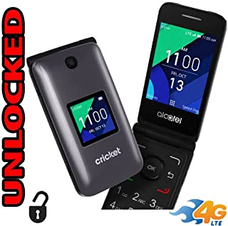 Flip Phone 4G LTE GSM Alcatel QuickFlip (Cricket 4044C) Unlocked Big Buttons + Extrenal LCD Bluetooth WiFi Mp3 Camera SOS Elderly