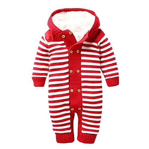 Bebé niña niño recién nacido, jersey con capucha de una sola pieza para bebé otoño e invierno de doble pecho, con pespuntes a rayas y terciopelo completo para tejer traje completo rojo Età consigliata:0-6 mesi