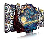 DekoArte 435- Cuadros Modernos Impresión de Imagen Artística Digitalizada | Lienzo Decorativo Para Tu Salón o Dormitorio | Estilo Abstractos Arte Van Gogh La Noche Estrellada | 5 Piezas 200x100cm XXL