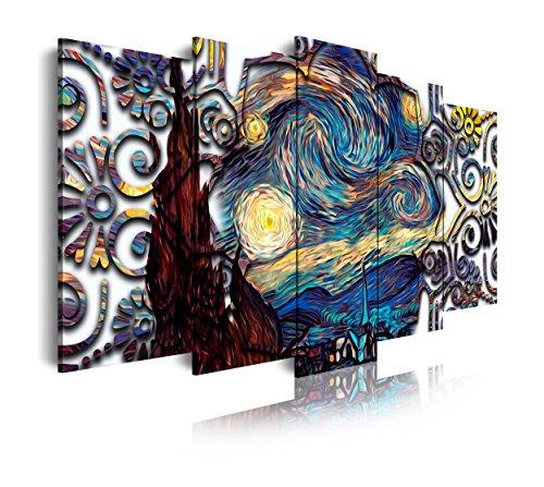 DekoArte 435- Cuadros Modernos Impresión de Imagen Artística Digitalizada   Lienzo Decorativo para Tu Salón o Dormitorio   Estilo Abstractos Arte Van Gogh La Noche Estrellada   5 Piezas 200x100cm XXL