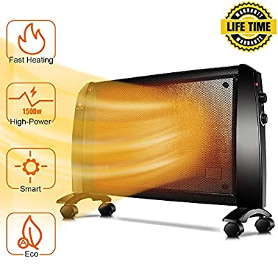 Mica Panel Heater - 1500W Wall Heater with Free Stand & Wheels, 350 Sq Ft Coverage, Low Noise, Garage Space Heater with Thermostat, Rapid Heating, Safety Protection, Allergy-Friendly Electric Heater