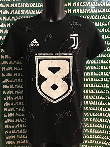 MAESTRI DEL CALCIO T-Shirt Celebrativa Scudetto Autografata F.C. Juventus 2018/2019 Firmata Firme Giocatori