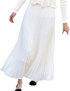 Zimaes Womens Pure Color Mid-length Pleated Smocked Waist Slim-Fit A-Line Skirt