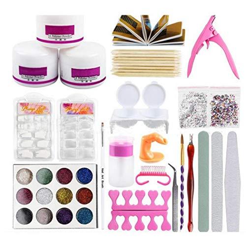 Fandazzie 1 Set Kit de manucure Acrylique Glitter Poudre Nail Décoration 3D Nail Moule Nail Art Outils Accessoires de Maquillage et Outils