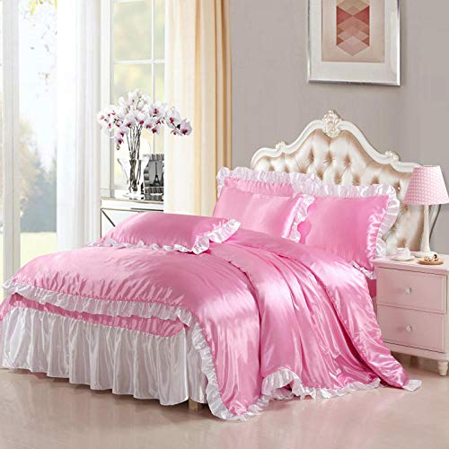 duvet double cover-Summer cool European-solid color wash simulation silk rinks set double bedding-A_1.8M bed (4 pieces)