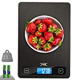 YXwin Food Scale Digital Kitchen Scales 33lb Weight 1gram/0.05ounce Measuring Precision 5 Units Accurate Tare Large LCD Display Easy Clean Stainless Tempered Glass Panel for Cooking Baking Milk