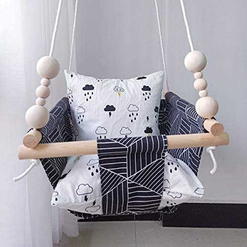 HB.YE Hamaca de lino para bebé con diseñopara exteriores patio con anillo de dentición de madera y 2 cojines de algodón para decoración de guardería negro BLACK STRIPES Talla:14.6'x14.6'x7.9'+59' rope