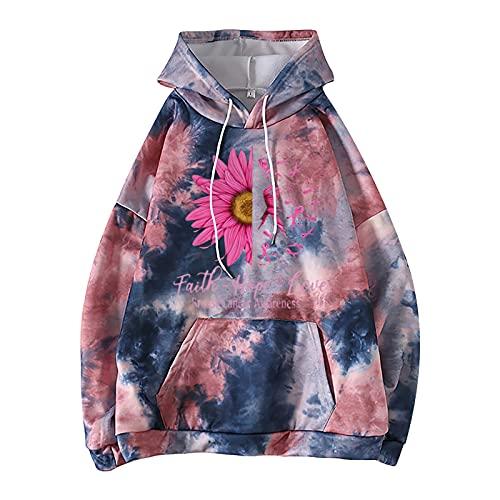 Wave166 Sudadera con capucha para mujer con capucha para la sensibilización del cáncer de mama, color rosa, con estampado de ribbon gerbera, con bolsillos y cuello redondo, Rosa caliente., 5X-Large