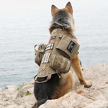 OneTigris Tactical Dog Molle Vest Harness Training Dog Vest with Detachable Pouches (Tan, Large)