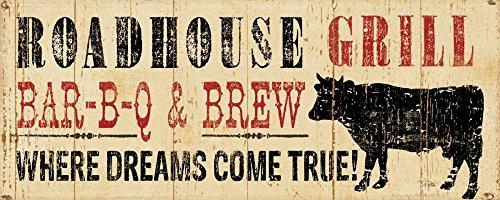Feeling at Home Kunstdruck auf LEINWAND im SCHATTENFUGENRAHMEN Pela Roadhouse Grill Leinwandbilder im moderner Holzrahmen Küche Horizontal cm_36_X_91
