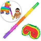 Goods & Gadgets Pinata Party-Dekoration zum Befüllen mit Süßigkeiten für Kinder-Geburtstag - Stab und Augenmaske