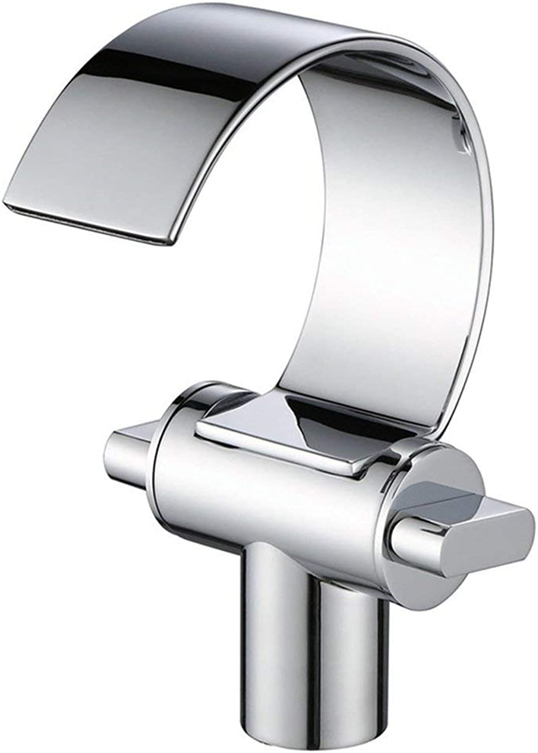 GJR-W Fashion Modern Chrome Finish Bathroom High Basin Faucet Waterfall Sink Faucet Single Handle Single Hole Wide Counter Basin Faucet Hot And Cold