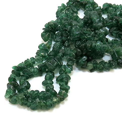 Neerupam Collection Indio Verde aventurina Naturales de Piedras Preciosas Oscuro sin Cortar Cuentas de Chip 33 Pulgadas 5 líneas mechón