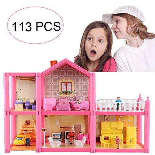 KUNEN Casa delle Bambole Sogno per Bambina Giocattolo dei Bambini 2 Piani con Mobili e Accessori,Casa Barbie Miniatura Giocattoli Regalo di Natale per
