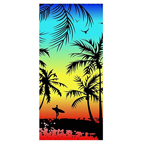 Toalla de Playa de baño con Estampado de Caballo de Playa de Dibujos Animados de Microfibra Absorbente de Verano Grande (100x180cm, Caballo de Playa A)