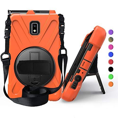 OKZone Hülle für Galaxy Tab Active 2,360 Grad Drehständer/Handschlaufe/Schultergurt Ultra Hybrid Stoßfest Full Body Schutzhülle für Samsung Galaxy Tab Active 2 SM-T390 8.0 Zoll (Orange)