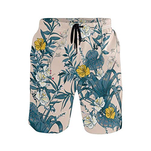 Troncos de natación para Hombre, Retro, Primavera, Flores, Hojas, Plantas, bañador, Pantalones Cortos Casuales Anti-decoloración para Caminar, Piscina