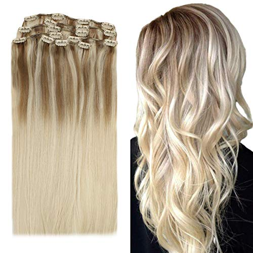 YoungSee Remy Clip Extensions Echthaar Ombre - Echt Haare Extensions Clips Echthaar Dunkel Aschblond mit Blond - Doppelt Tressen Balayage Clip in Extensions Echthaar 40 cm 7pcs/120gramm