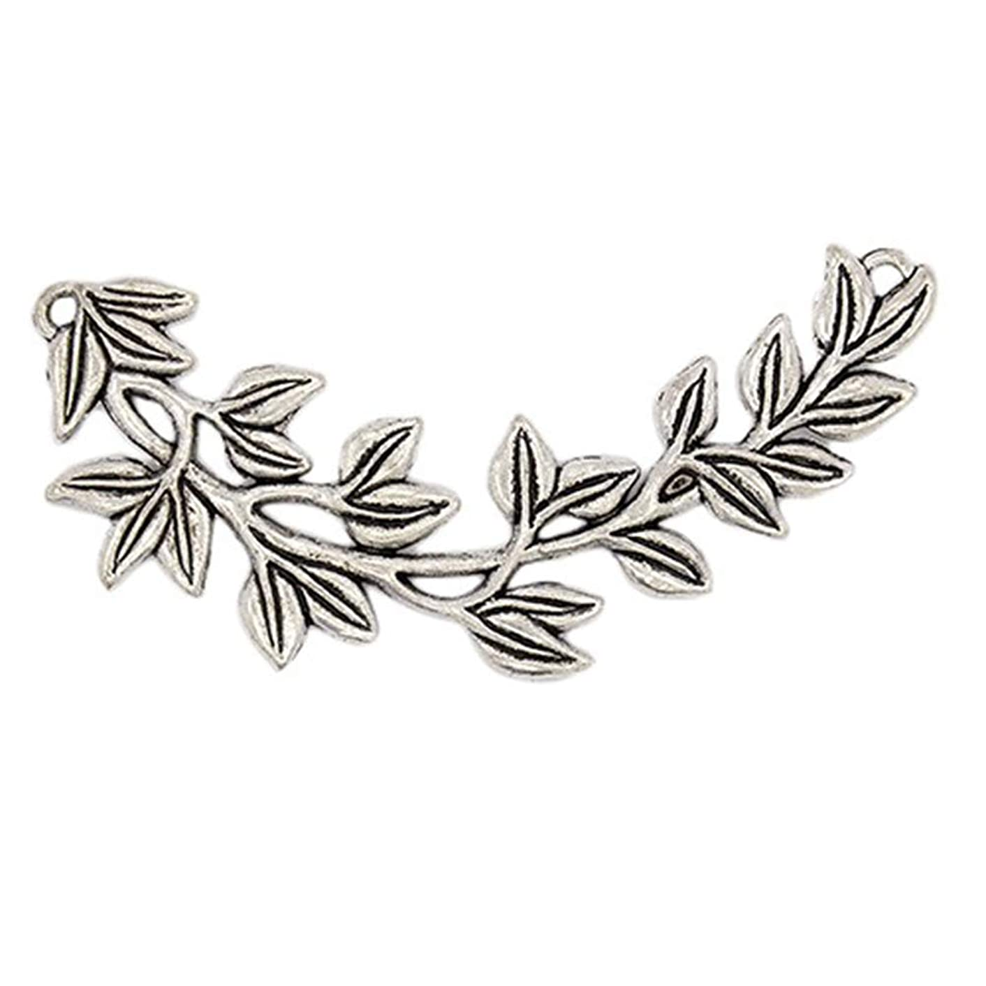 PH PandaHall 5pcs Alloy Olive Branch Links Tibetan Style Links Antique Silver Charm Links for Bracelets Necklaces Jewelry Making