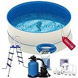 Juego de piscina confort + Ø 4,50 x 1,20 m, acero de 0,6 mm, lámina de 0,8 mm con ribete en cuña