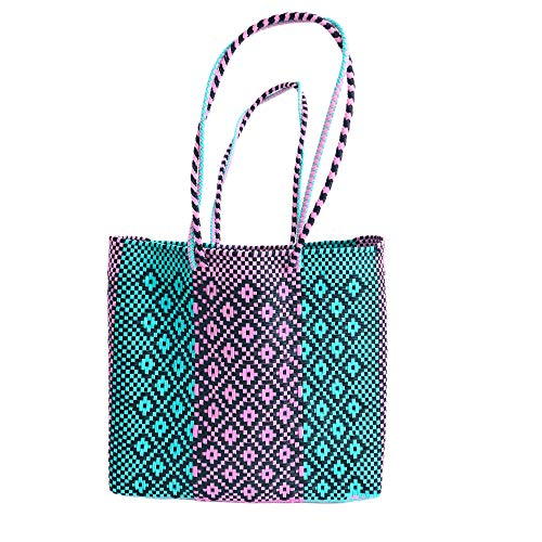 OTOMI MEXICO - Bolsa de playa - Bolsa de compra - Bolso de Plástico reciclado - Azul - 33 x 31 x 11 cm