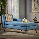 Christopher Knight Home Sophia Mid Century Modern Fabric Chaise Lounge, Muted...