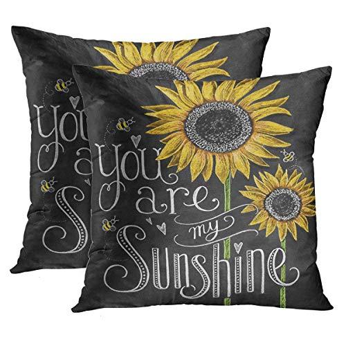 2er-Set Dekorative Kissenbezüge Quadratische Größe Du bist Mein Sonnenschein Sonnenblumen Kreide Malerei Dekor Kissenbezug Kissenbezüge55 * 55CM