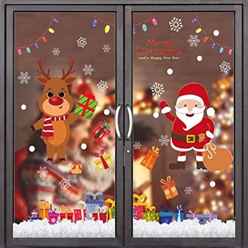 Flysee Pegatinas Navidad para Ventanas, adornos navideños, Pegatina Copo de Nieve Navidad,...