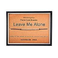 Leave Me Alone ブレスレット Morse Code ジュエリー 彼女へのギフト 925スターリングシルバービーズ シルクコードブレスレット インスピレーションジュエリー 女性用