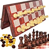 Luoyer 12 inch Folding Chess Checker Set 2 in 1Magnetic Chess Pieces Portable Travel Board Games Great Educational Toys Gift for Adults and Kids