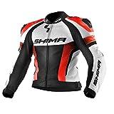 SHIMA STR JACKET RED FLUO, Lederkombi Motorradbekleidung Zweiteiler Motorradkombi Motorradanzug,...