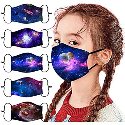 ORT 5PCS Children's Reusable Washable Face Bandanas,Breathable Cotton Face_Covers with Adjustable Ear Straps,Cartoon Printed Protective Face_Masks for Kids Boys Girls Outdoor Students Back to School