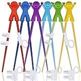 SourceTon 6 Paar einfach zu bedienende Trainings-Essstäbchen mit Helfern, Trainingsstäbchen für Rechts- oder Linkshänder, Kinder, Teenager, Erwachsene, Anfänger.