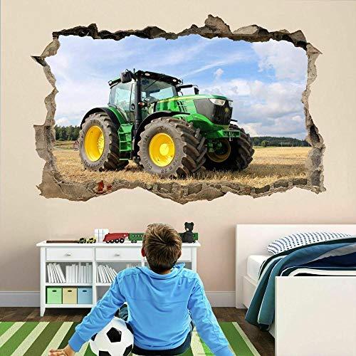 DDSYJ Etiqueta de la pared 3d Tractor Farm Machine 3D Wall Sticker Decal Poster Kids Boys Bedroom Decor
