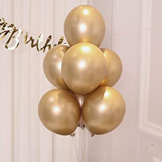 AULE Gold Metallic Chrome Latex Balloons 12 Inch 50 Pcs Happy Birthday Baby Showers Bridal Shower Weddings Bachelorette Party Decorations