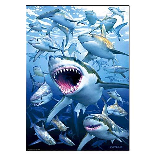 Kit pintura grande, DIY 5D diamond painting by number kit tiburón cuadros pintura con diamantes de punto de cruz numeros manualidades kit de rompecabezas decoración salon pared 30x40cm