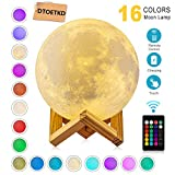 Moon Lamp Night Light,3D Printing 16 Colors Moon Lights with Stand & Remote & Touch Control and USB Rechargeable (Diameter 4.72 inch),Nursery Lamps for Your Kids,Birthday Gift Ideas for Friend/Lover