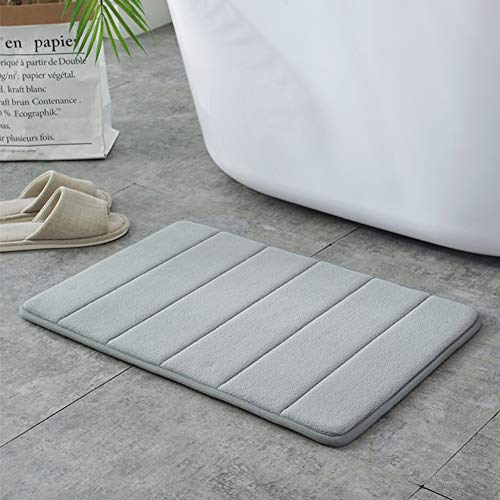 Memory Foam Bath Mat Non Slip Absorbent Super Cozy Velvet Bathroom Rug Carpet Super Water Absorption Bathroom Carpet Non-Slip Thick Bathroom Mat (16' X 24', Gray)