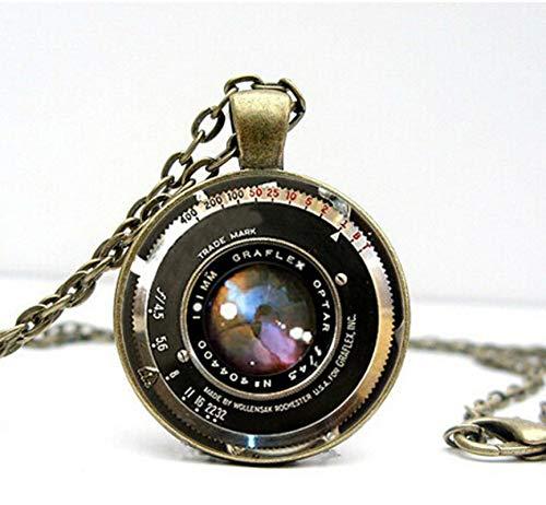 WYFLL Vintage Kamera Objektiv Halskette Roman Rundkreis Anhänger Glas Karten Kran Schmuck Mode Persönlichkeit Beliebt