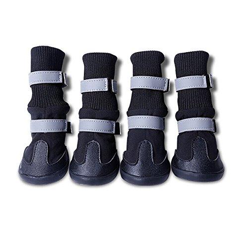 UEETEK 4pcs impermeable perro mascota botas para medianas y grandes perros (negro, talla L)