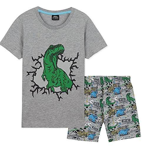 CityComfort Pigiama Bambino A Maniche Corte, Pigiama Dinosauro da 2 A 12 Anni, Pigiami Corti Estivi per Bambini (Grigio, 11-12 Anni)