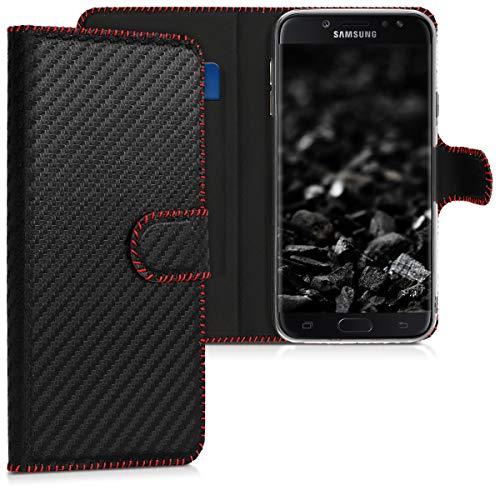 kwmobile Carcasa Compatible con Samsung Galaxy J7 (2017) DUOS - Funda de Cuero sintético Carbono - con Tarjetero