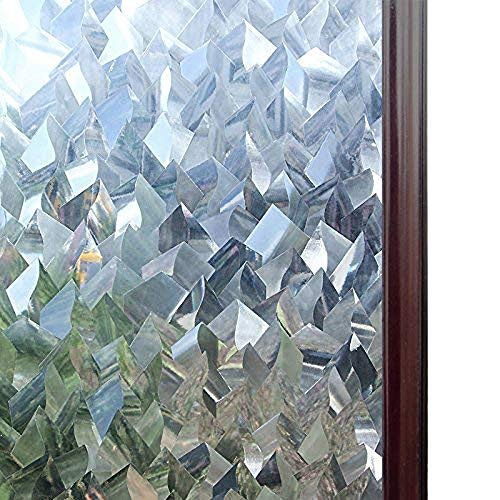 rabbitgoo Static Window Film Privacy, 3D Decorative Stained Glass Film, Static Cling Door Window Covering, Removable Window Sticker, Self-Adhesive Window Vinyl, UV Blocking Glue Free, Crystal Icicles