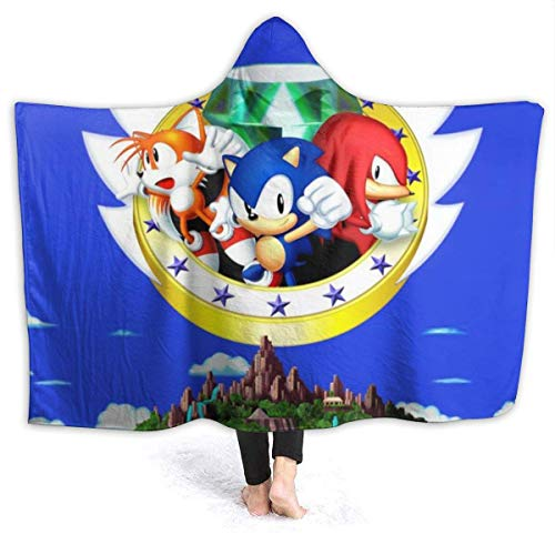 CHICLI Autumn Hooded Blankets for Kids Baby, Sonic The Hedgehog 3 & Knuckles Game Poster Wearable Blankets for New Year, Bed, Sofa, Against Shedding Warm Hooded Cloak Cape