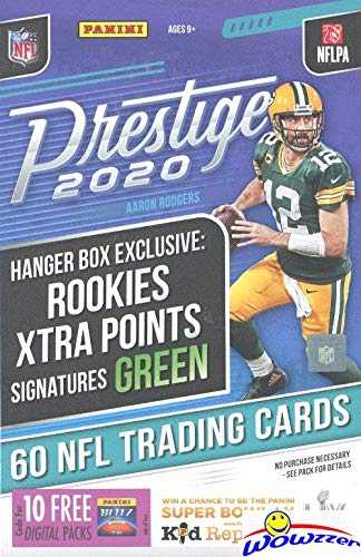 2020 Panini Prestige NFL Football EXCLUSIVE HUGE Factory Sealed HANGER Box with 60 Cards! Look for ROOKIES & AUTOS of Justin Herbert, Joe Burrow, Tua Tagovailoa, Chase Young & Many More! WOWZZER!
