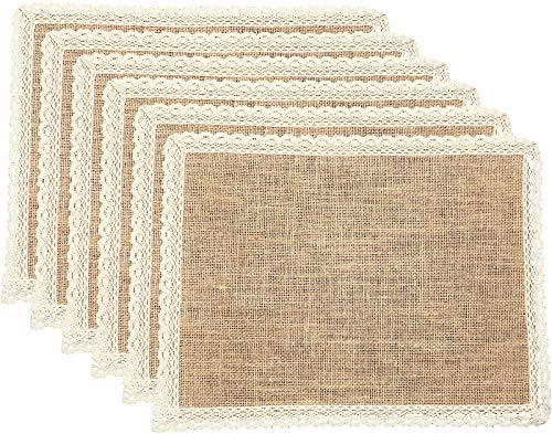 FiveRen Placemats Burlap and Beige Lace Jute Rustic Farmhouse Table Mats Table Decor One of Lifes Little Home Luxuries for Special Occasions Parties Weddings BBQs Holidays Set of 6