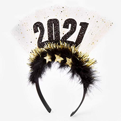 Claire's 2021 New Year's Eve Tinsel and Feather Headband for Girls, Black with Gold, Thin Band, One Size, 6 Pack