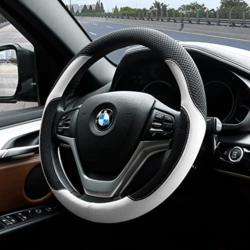 Achiou Steering Wheel Cover Microfiber Leather and Viscose, Breathable Mesh Universal 14.5-15.25 inch, Refreshing and Comfortable