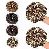 JessLab Postizos de Pelo, 2 Pcs Hair Bun Scrunchie Messy Bun Peluca Pelo Natural Coletas Postizas Extensiones de Cabello Pelucas y Accesorios Postizos para Mujeres Chica Damas