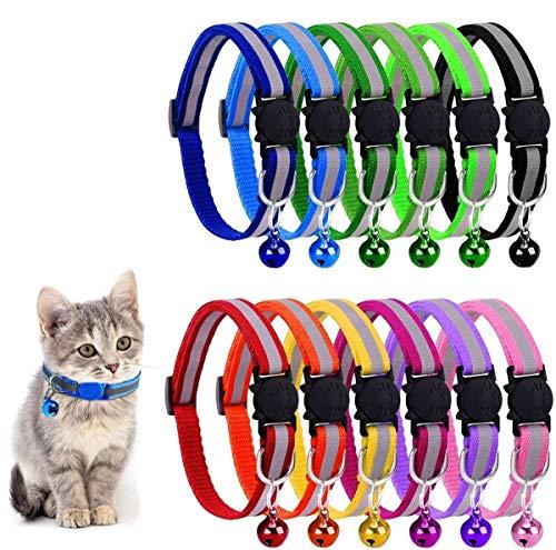 BTkviseQat Reflektierende Katzenhalsbänder mit Glöckchen, 12 Stück, sicheres Schnellentriegelungs-Katzenhalsband, verstellbar für alle Hauskatzen